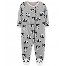Carter's Baby Girls Footed Fleece Panda Coverall (Pastel Gray, 9M)