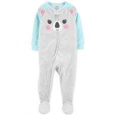 Carter's Baby Girls Koala Bear Fleece Footed Pajamas (Gray, 12M)