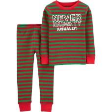 Carter's Boys' 2 Piece Christmas Pajamas (2, Thermal/Stripe)