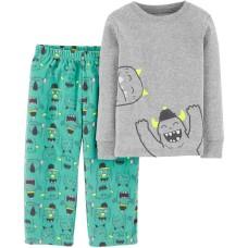 Carter's Boys' 2-Piece Fleece Pajamas (5, Turquoise/Heather/Monster)
