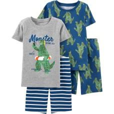 Carter's Boys' 4-Piece Snug Fit Cotton Pajama Sets (Blue/Heather/Monster, 4)