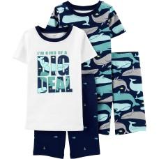 Carter's Boys' 4-Piece Snug Fit Cotton PJs (White/Navy/Whale, 4)