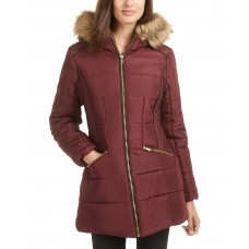Celebrity Pink Juniors' Faux-Fur-Trim Hooded Puffer Coat, Red, S