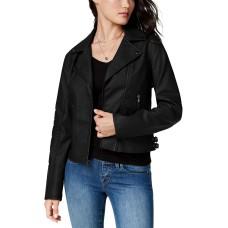 Celebrity Pink Juniors' Faux-Leather Moto Jacket, Black, 2XL