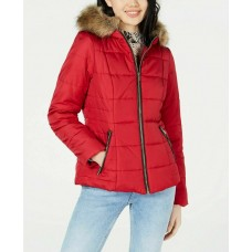 Celebrity Pink Juniors Teens Puffer Coat with Faux Fur Trim Hood (Red, Large)