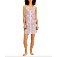 Charter Club Lace-Trim Cotton Nightgown, Entwine Geo, X-Small