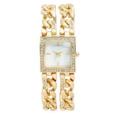 Charter Club Women's Crystal Gold-Tone Double Chain Bracelet Watch 27mm,
