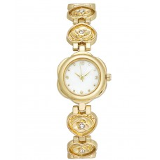 Charter Club Women's Gold-Tone Pave Rose Heart-Link Bracelet Watch 20mm,