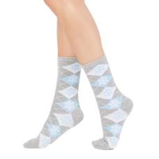 Charter Club Women's Snowflake Argyle Crew Socks (Gray, 9-11)