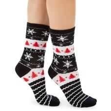 Charter Club Women's Snowflakes & Trees Crew Socks (Black, 9-11)