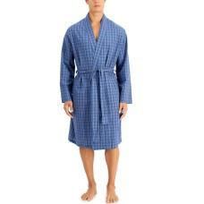 Club Room Mens Plaid Robe Mediumdark Blue (Navy, One Size)