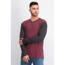 Club Room Mens Thermal Henley Shirt (Red Plum/Charcoal, Large)