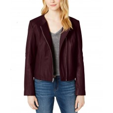 Cole Haan Leather Moto Jacket (Dark Red, XL)