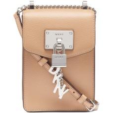 DKNY Elissa Pebble Leather Charm Chain Strap Crossbody, Latte