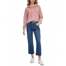 Dkny Jeans Juniors Acid Wash Hoodie Dusty (Pink, Small)
