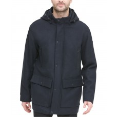 DKNY Men's Stadium Coat with Removable Hoodie, Navy, XL