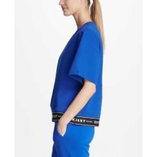 DKNY Sport Short-Sleeve Logo Sweatshirt (Blue, Large)