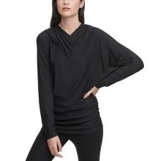 DKNY SPORTSWEAR Women's Missy Long Sleeve Pull Over Hoodie (Black, Small)