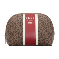 DKNY Whitney Logo Cosmetic Pouch, Brown/Red