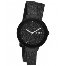 DKNY Women's Astoria Black Glitter Leather Wrap Strap Watch 38mm