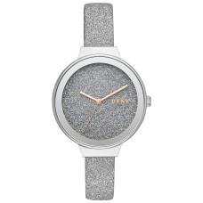 DKNY Women's Astoria Silver Glitter Leather Strap Watch 38mm