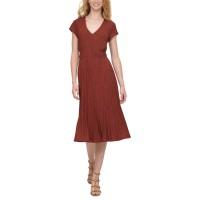 DKNY Women's Textured Midi V-Neck Knit Dress, Red, X-Large