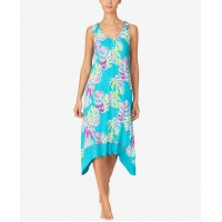 Ellen Tracy Women's Tie Sleeve Midi Gown with Soft Bra (Turquoise, Small)