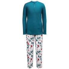 Family Pajamas Men's Henley Top Mitten-prints Mittens (White, Small)