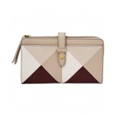 Fossil Fiona Patchwork Tab Wallet (Champagne/Gold)