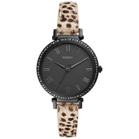 Fossil Women's Kinsey Spotted Leather Strap Watch, Black, ES4726