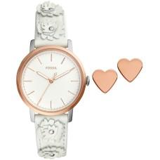 Fossil Women's Neely White Leather Strap Watch Set, White, ES4383SET