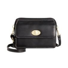 Giani Bernini Turn-lock Glazed Crossbody Wallet, Black