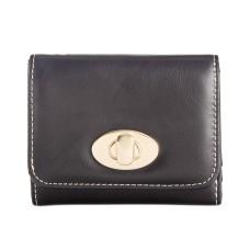 Giani Bernini Turnlock Glazed Trifold Wallet, Black