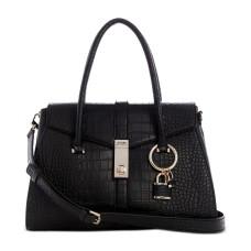 Guess Asher Flap Satchel Handbag, Black