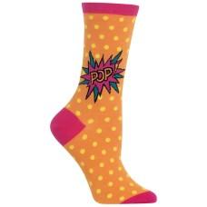 Hot Sox Women's Pop Crew Socks (Neon Orange, 9-11)