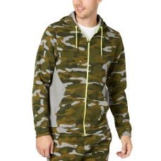 Ideology Men's Colorblocked Camo Jacket (Dark Green, XL)