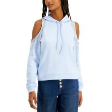 INC International Concepts INC Cold-Shoulder Fringe Hoodie (Blue, Small)