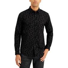 INC International Concepts Men's Flocked Floral Shirt, Black, M