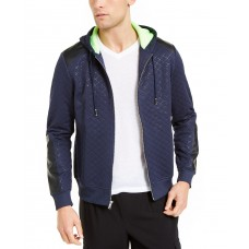 INC International Concepts Men's Quilted Hooded Jacket (Dark Blue,XS)