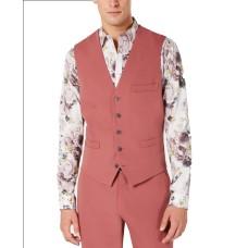 INC International Concepts Men's Slim-Fit Dusty Red Vest (Mauve Pink, XXL)