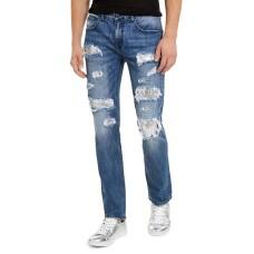 INC International Concepts Men's Slim-Straight Sequin Rip-Repair Jeans (Dark Blue, 34 Reg)