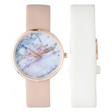 INC International Concepts Pink & White Interchangeable Strap Watch (Pink)