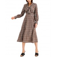 INC International Concepts Women's INC Chain Printed Tie Front Midi Dress (Brown, X-Small)