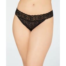 Jenni Women's Plus One Size Lace Thong Underwear (Classic Black, 1X-3X)