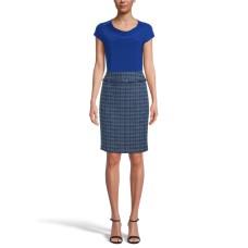 Kasper Women's Tweed Skirt with Fringe (Navy, 10)
