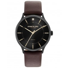 Kenneth Cole New York Men's Brown Leather Strap Watch 40mm, Black