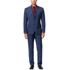 Kenneth Cole Reaction Men's Slim-Fit Blue Pindot Suit (Blue, 42T, Pant 35x32)