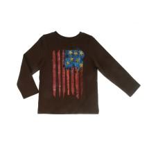 Kidsy Baby Boys Flag Art Graphic Printed Peruvian Cotton T-shirt – Long Sleeve, Crewneck