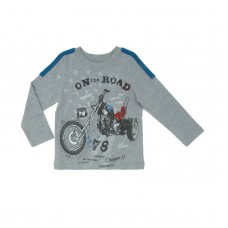 Kidsy Baby Boys On The Road Graphic Printed Peruvian Cotton T-Shirt – Long Sleeve, Crewneck