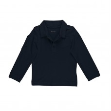 Kidsy Baby Boys Solid Cargo Polo Peruvian Cotton T-Shirt – Long Sleeve, Polo Neck With 3 Buttons